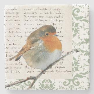 Vintage Robin bird green damask manuscript Stone Coaster