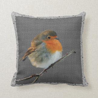 Vintage Robin bird,  rustic dark gray burlap frame Cushion