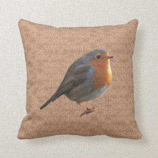 Vintage Robin Birds photos in rustic burlap Cushion