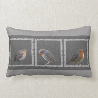 Vintage Robin birds photos rustic dark gray burlap Lumbar Cushion