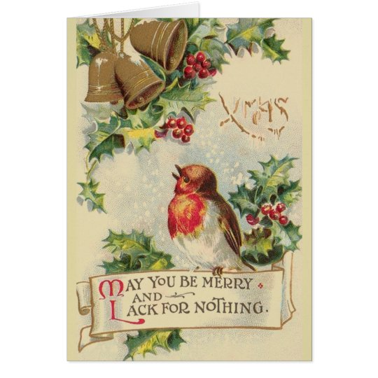 Vintage Robin Christmas Greeting Card