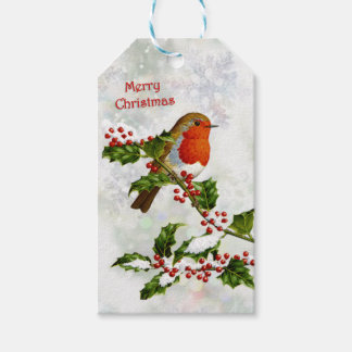Vintage Robin, holly Christmas Gift Tags