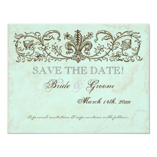 Vintage Robins Egg Blue Crown Swirl Flourish 11 Cm X 14 Cm Invitation Card