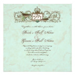 Vintage Robins Egg Blue Crown Swirl Flourish Personalized Invitations