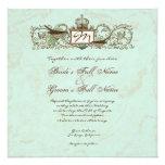 Vintage Robins Egg Blue Crown Swirl Flourish Personalised Invitation