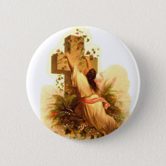 Vintage Rock of Ages Cross Illustration 1873 6 Cm Round Badge