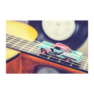 Vintage Rock & Roll Car Miniature on Guitar Canvas