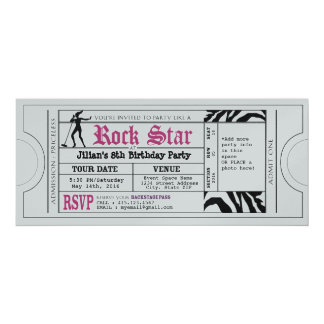 Vintage Rock Star Girls Party Ticket Invitation