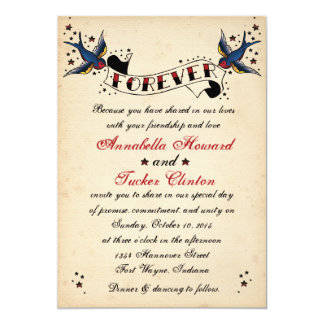Vintage Rockabilly Tattoo Wedding Invitation