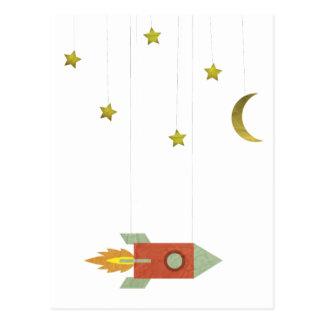 Vintage Rocket In Space Postcard