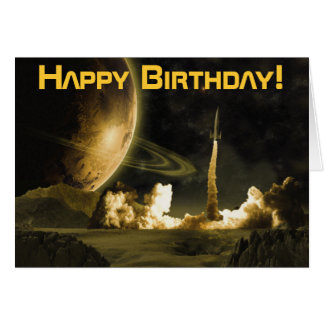 Vintage Rocket Launch Birthday Card