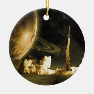 Vintage Rocket Launch Christmas Ornament