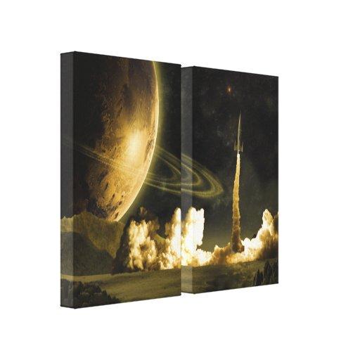 Vintage Rocket Launch Gallery Wrap Canvas