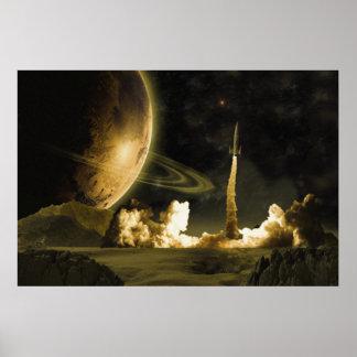 Vintage Rocket Launch Poster