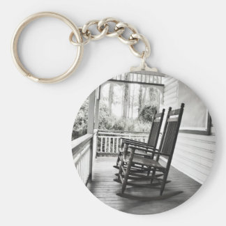 Vintage Rocking Chairs on Porch Key Ring
