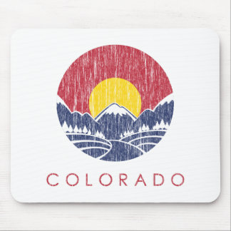 Vintage Rocky Mountain Colorado Sunset Logo Mouse Mat