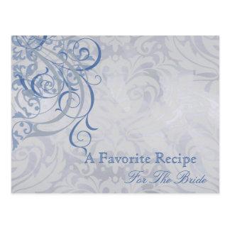 Vintage Rococo Blue Bridal Shower Recipe Card Post Card