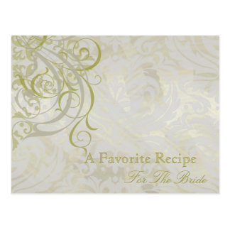 Vintage Rococo Gold Bridal Shower Recipe Card Post Cards