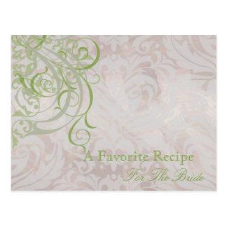 Vintage Rococo Olive Bridal Shower Recipe Card Post Cards