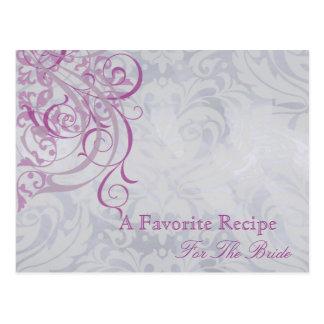 Vintage Rococo Pink Bridal Shower Recipe Card Postcards