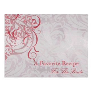 Vintage Rococo Red Bridal Shower Recipe Card Post Cards