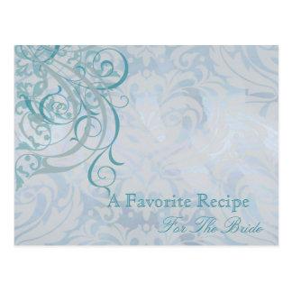 Vintage Rococo Teal Bridal Shower Recipe Card Postcards