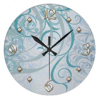 Vintage Rococo Teal Scroll Clock
