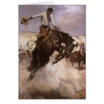 Vintage Rodeo Cowboy, Breezy Riding by WHD Koerner Greeting Card