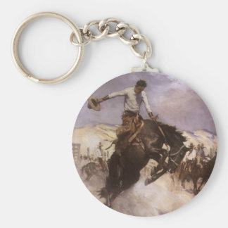 Vintage Rodeo Cowboy, Breezy Riding by WHD Koerner Key Ring