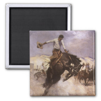 Vintage Rodeo Cowboy, Breezy Riding by WHD Koerner Square Magnet
