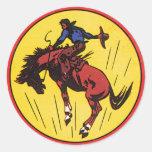Vintage rodeo cowboy illustration round sticker