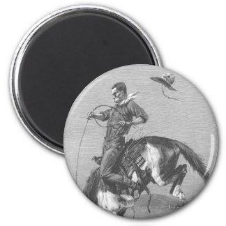 Vintage Rodeo Cowboys, Bucking Bronco by Remington 6 Cm Round Magnet