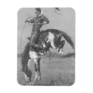 Vintage Rodeo Cowboys, Bucking Bronco by Remington Rectangular Photo Magnet