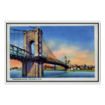 Vintage Roebling Suspension Bridge, Cincinnati, OH Poster
