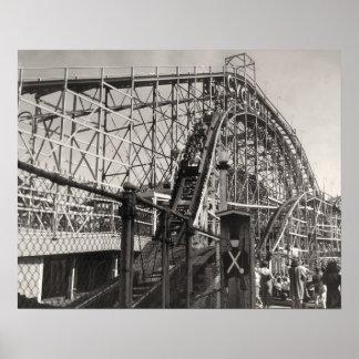 Vintage Roller Coaster Poster Print
