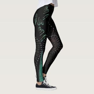 Vintage Romance Fashion Leggings--Women-Black/Aqua Leggings