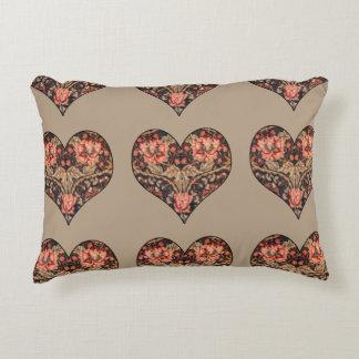 Vintage Romance Floral Hearts Accent Pillow