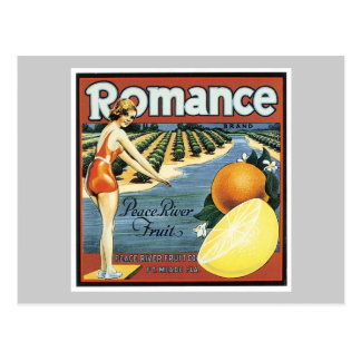 Vintage Romance Fruit Label Postcard