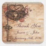 Vintage Romance Key & Hearts Thank You Wedding Square Sticker