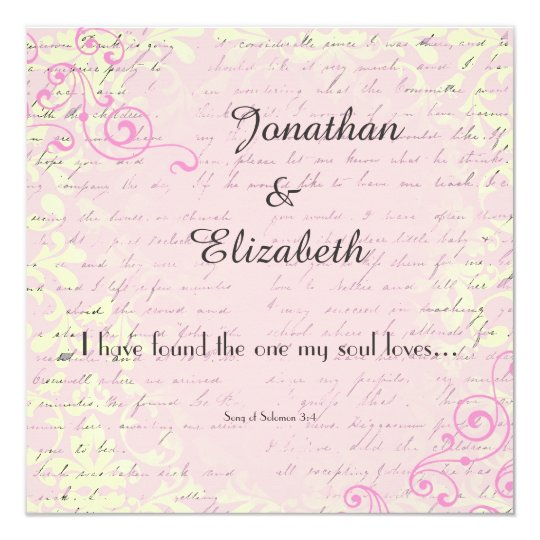 Vintage Romance with Bible Verse Wedding Card