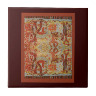 Vintage Romanian embroidery, traditional design Small Square Tile