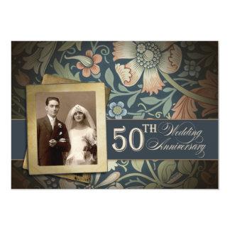 "vintage romantic 50 anniversary photo invitations 5"" x 7"" invitation card"