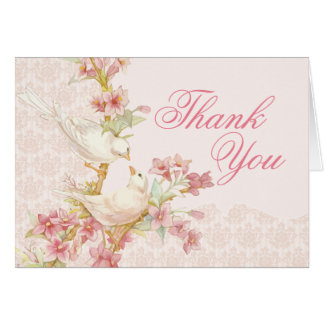 Vintage Romantic Birds in Love Thank You Card