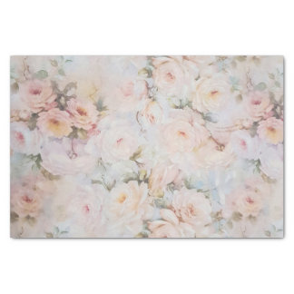 Vintage romantic blush pink ivory roses floral tissue paper