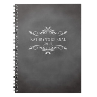 Vintage romantic chalkboard personalized journal spiral notebook