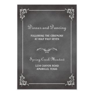Vintage romantic chalkboard reception enclosure 9 cm x 13 cm invitation card