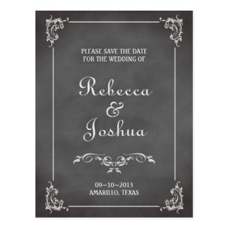 Vintage romantic chalkboard scroll save the date postcard