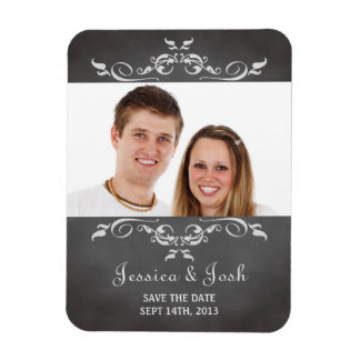 Vintage romantic chalkboard scroll save the date rectangular photo magnet