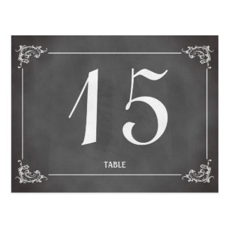Vintage romantic chalkboard wedding table number postcard