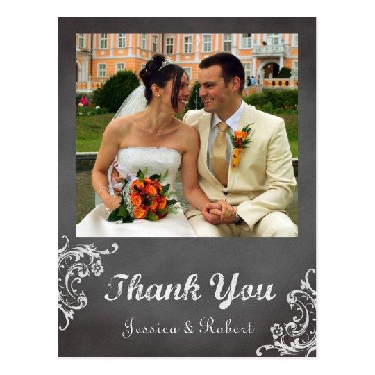 Vintage romantic chalkboard wedding thank you postcard